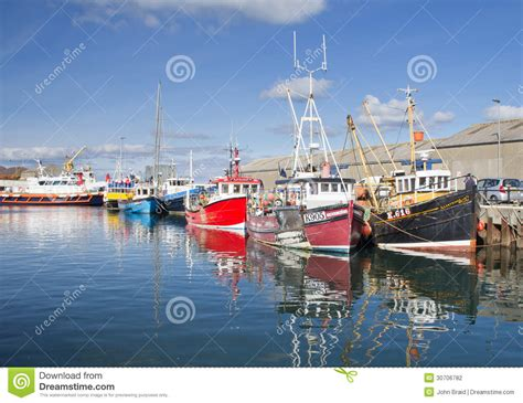 boat building orkney fishing boats docked in kirkwall harbour editorial