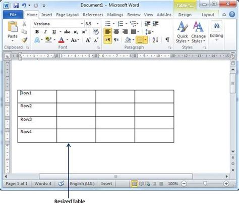 Table In Word resize a table in word 2010