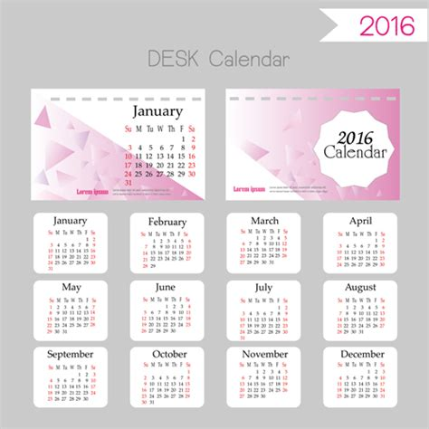 desk calendar design templates 2016 desk calendar template vectors set 07 vector