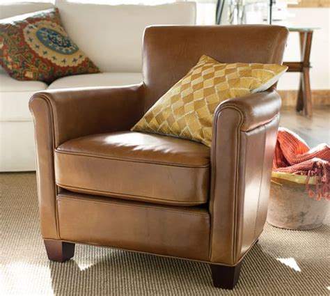 pottery barn armchairs irving leather armchair pottery barn