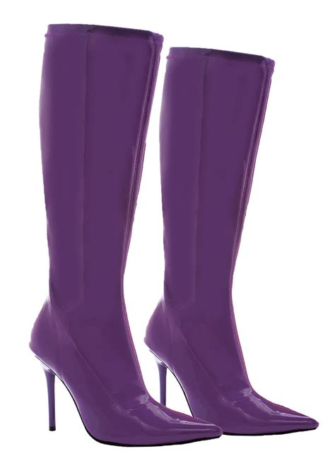 womens purple high heel boots costume craze