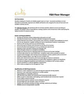 Restaurant Manager Description by Restaurant Manager Description Templates 10 Free Sle Exle Format Free