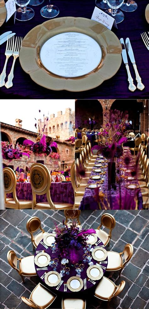 gold ideas  purple wedding decorations robs viva