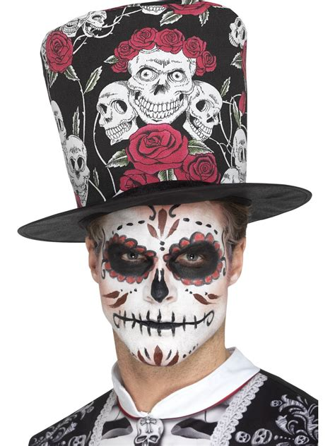 day of the dead skull rose top hat 48035 fancy dress