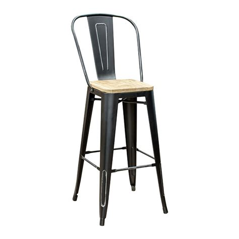 Black High Back Bar Stools by Black Weathered High Back Wood Seat Tolix Bar Stool