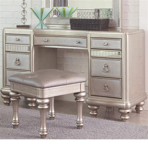 Vanity And Desk by 3 Coaster Bling Platinum Metallic Vanity Desk