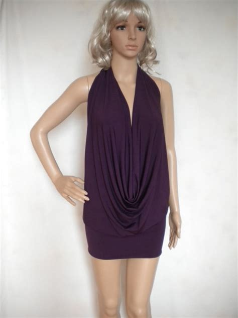 backless drape top backless drape halter top sexy mini dress made to order