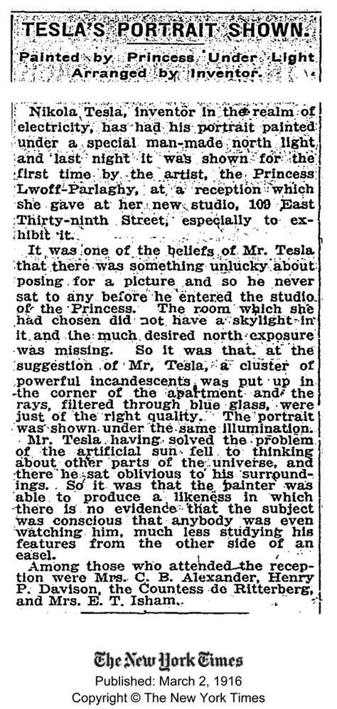 Tesla New York Times Copy Of Nikola Tesla S Quot Blue Portrait Quot For Sale