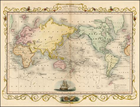 Cook S Illustrated the world on mercators projection shewing the voyages of