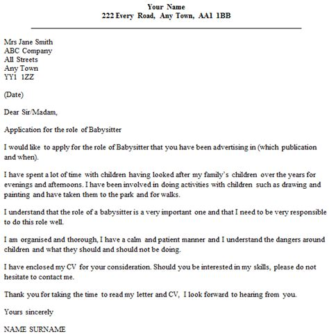 nanny cover letter letter of application letter of application