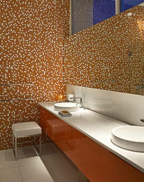 orange fliesen badezimmer design mosaikfliesen
