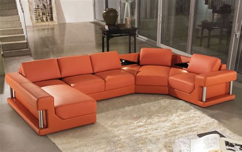 2315b Modern Orange Leather Sectional Sofa
