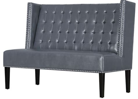 gray banquette halifax gray leather banquette bench from tov 63116 gray