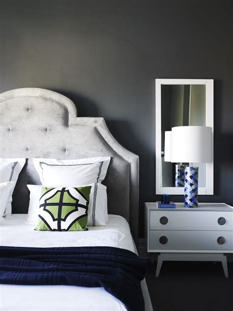 blue green and grey bedroom gray velvet tufted headboard contemporary bedroom