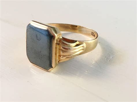 gold hematite 18k gold ring with hematite ceson sweden 1955 from
