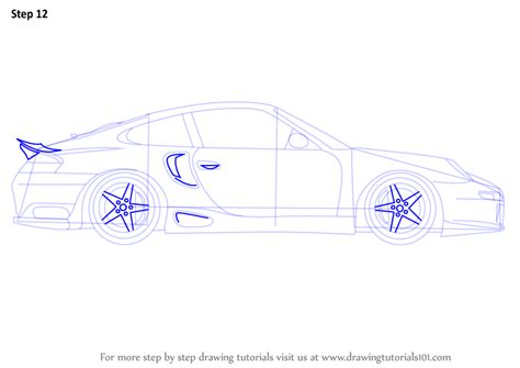 Learn How to Draw a Porsche Car Side View (Sports Cars) Step by Step : Drawing Tutorials