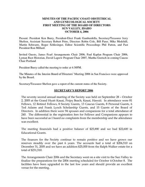 annual board of directors meeting minutes template board minutes exles pertamini co