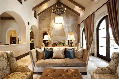mediterranean living room with carpet stone fireplace in stone wall fireplace dining room traditional with dark