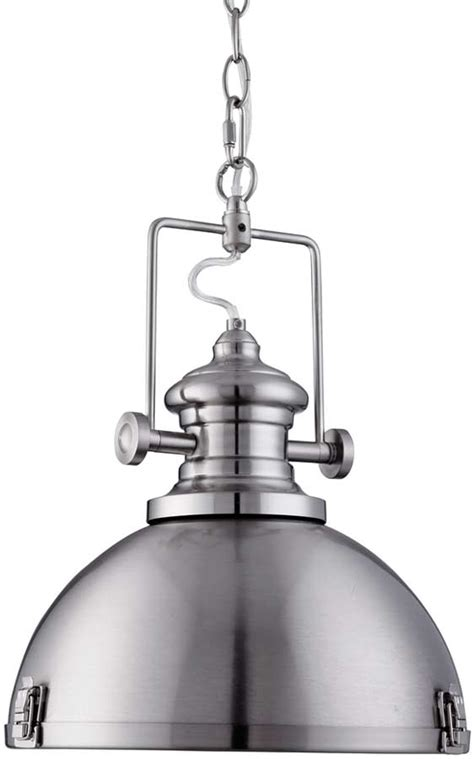 Industrial Pendant Lighting For Kitchen Satin Silver Dome Kitchen Industrial Pendant Light 2297ss