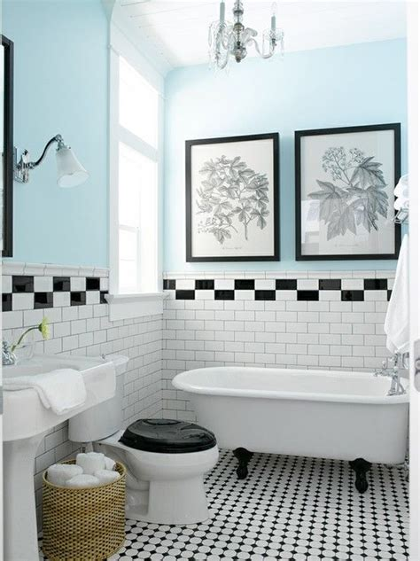 Vintage Black And White Tile Bathroom by Vintage Style Bathroom With Black White Tile Claw Foot