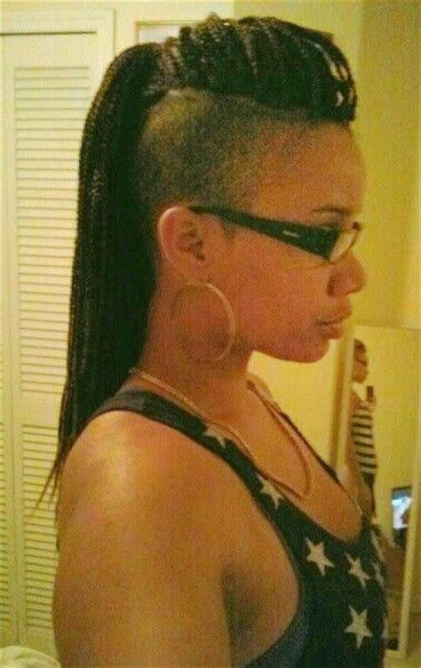 braid mohawk with shaved sides braids with shaved sides hair pinterest shorts on