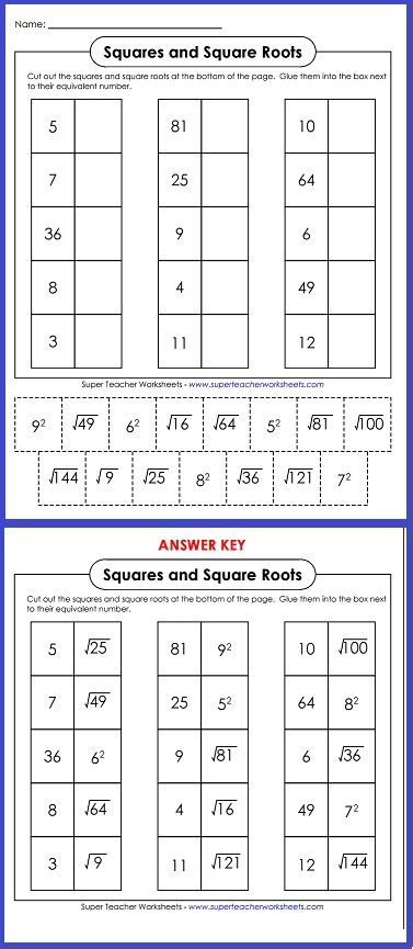 Squares And Square Roots Worksheets by Squares And Square Roots