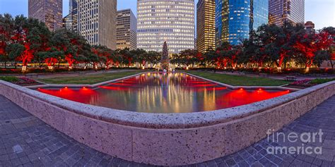 Lights In Hermann Park by Downtown Houston Skyline Hermann Square City Decked