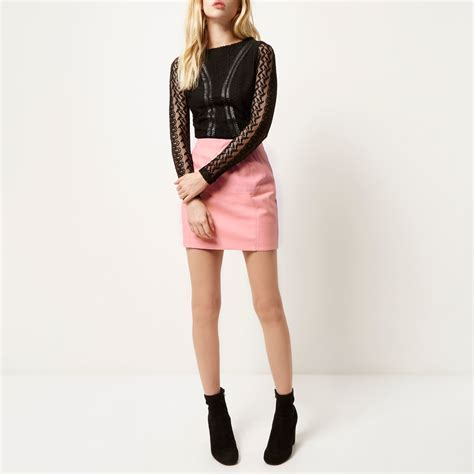 river island pink leather look pelmet skirt in pink lyst