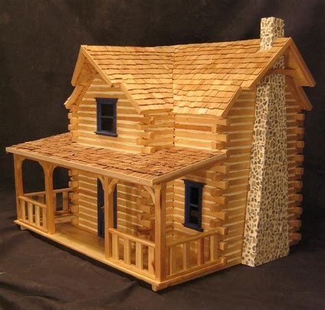 Popsicle Stick Cabin by Log Cabin Dollhouse Pop Sticks Brides