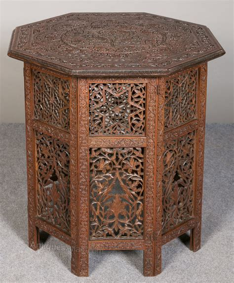 indian carved and pierced folding accent table ebth indian teak occasional table antiques atlas