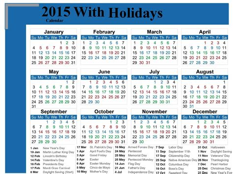 Calendar 2015 With Holidays Calendar With Holidays 2015 Pictures Images