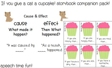 cause and effect printable card games if you give a cat a cupcake storybook companion pack