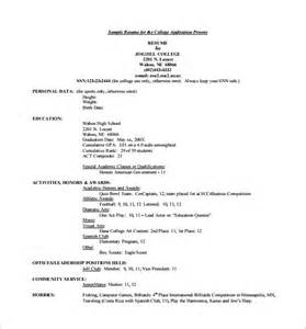 Resume Template For College Application by College Resume Template 10 Free Word Excel Pdf Format