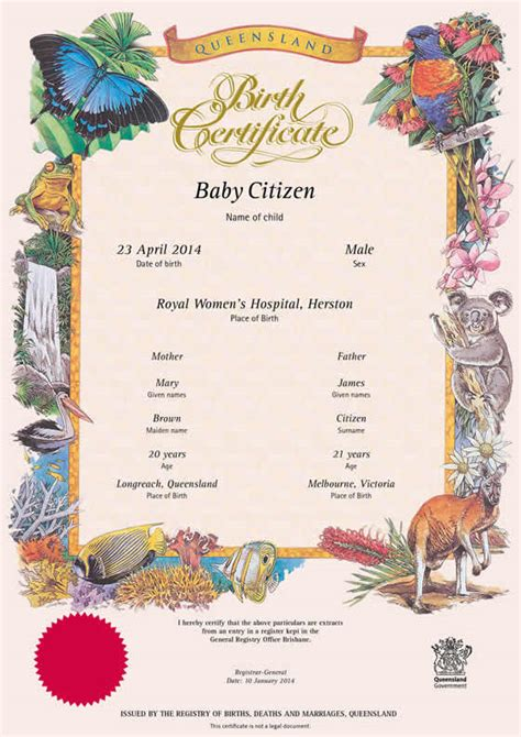 Records Of Births Deaths And Marriages Buy A Queensland Commemorative Birth Certificate Your
