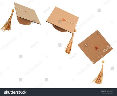 Origami Graduation Cap - origami hats in happiness graduation stock photo 100348823