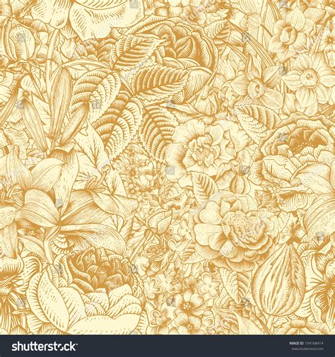 floral pattern in gold summer seamless floral pattern vintage flowers stock
