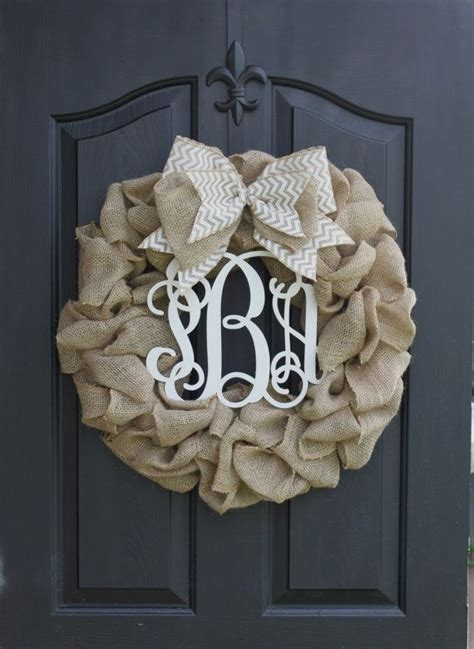 Monogram Wreath For Door by Wreath Monogram Wreath Burlap Wreath Wreath For Door
