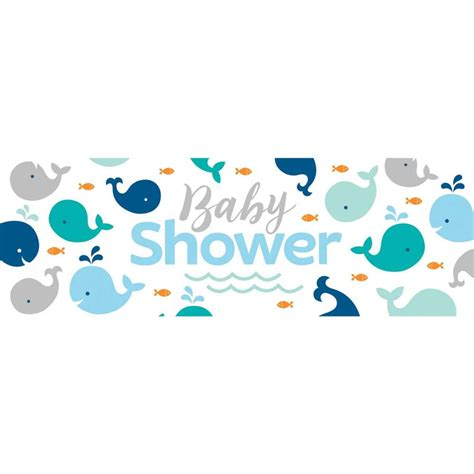 Blue Baby Shower Supplies by Blue Baby Whale Baby Shower Banner Baby Shower