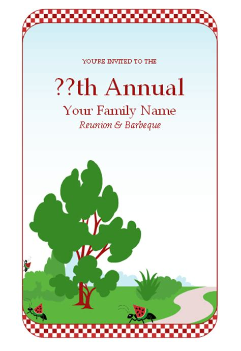 sle family reunion invitations microsoft word templates