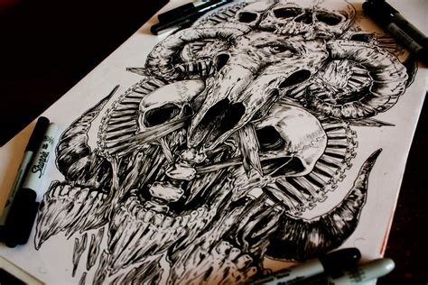 skull drawings   man called    freak scene