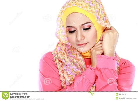 muslim pink portrait of beautiful wearing stock image