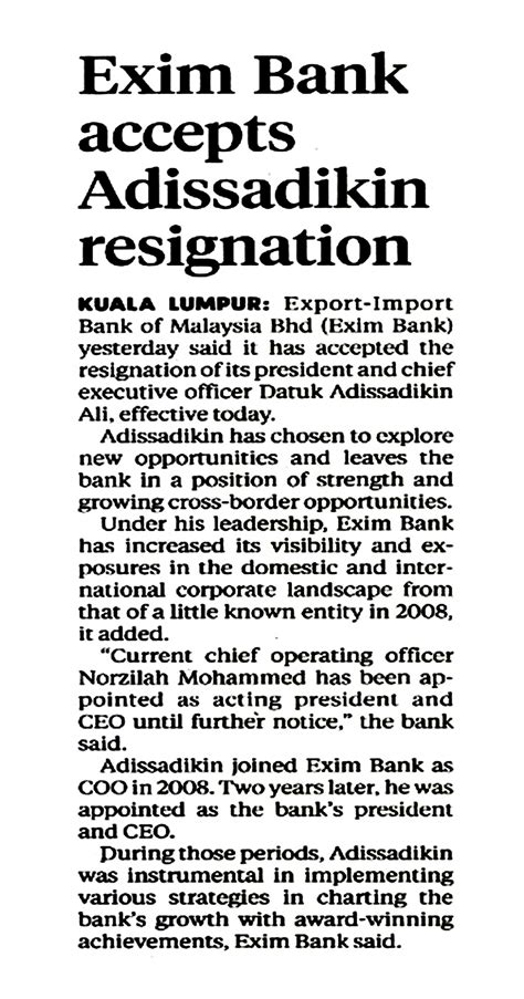 Exim Bank Letter Of Credit Exim Bank Accepts Adissadikin Resignation New Straits Time