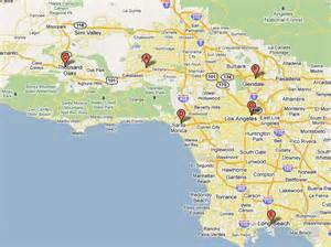 los angeles map and surrounding areas