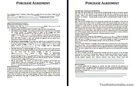 Agreement Letter India Purchase Agreement Template Youth Plus India