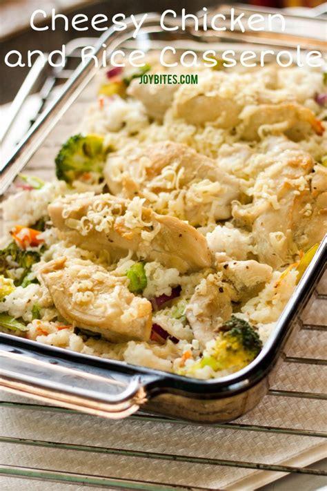 dinner recipe cheesy chicken and rice casserole joybites