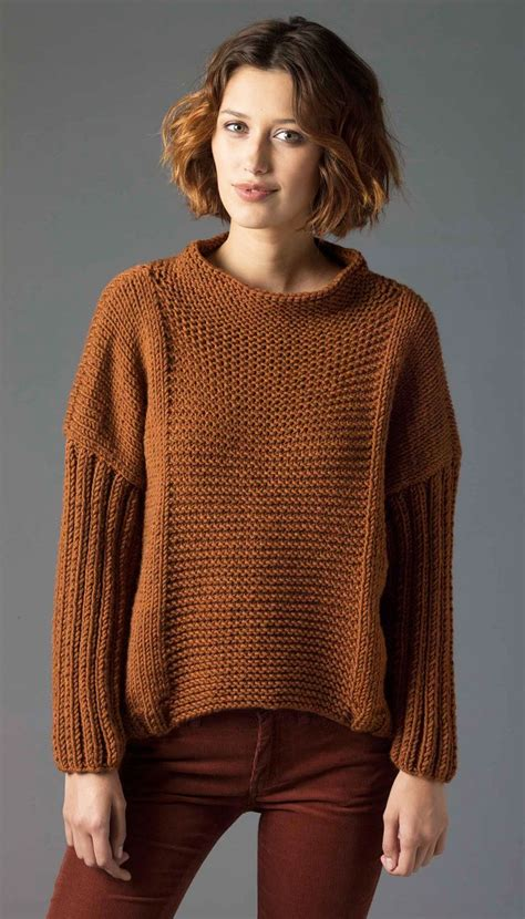 knitting patterns for sweaters on circular needles easy knit pullover lion brand free pdf pattern