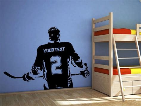 wall stickers home decor 3d poster boys bedroom hockey player wall sticker choose