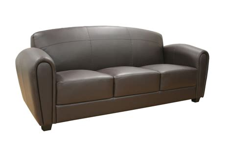 Baxton Studio Sally Brown Leather Modern Sofa Brown Modern Sofa