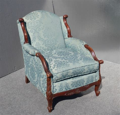 Overstuffed Armchairs by Vintage Blue Overstuffed Accent Arm Chair Carved Wood