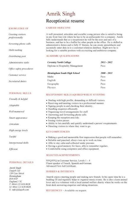 Receptionist Skills Resume by Receptionist Cv Template Description Resume